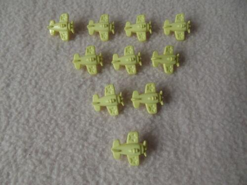 10 x LEMON AEROPLANE SHAPED BUTTONS ~ size approx 15mm x ~ BABIES//CRAFT