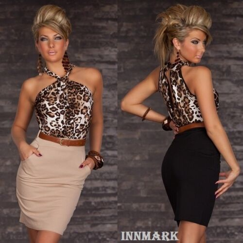 ceinture S M /& M L 502 superbe Smart cocktail robe longueur genou Leopard incl