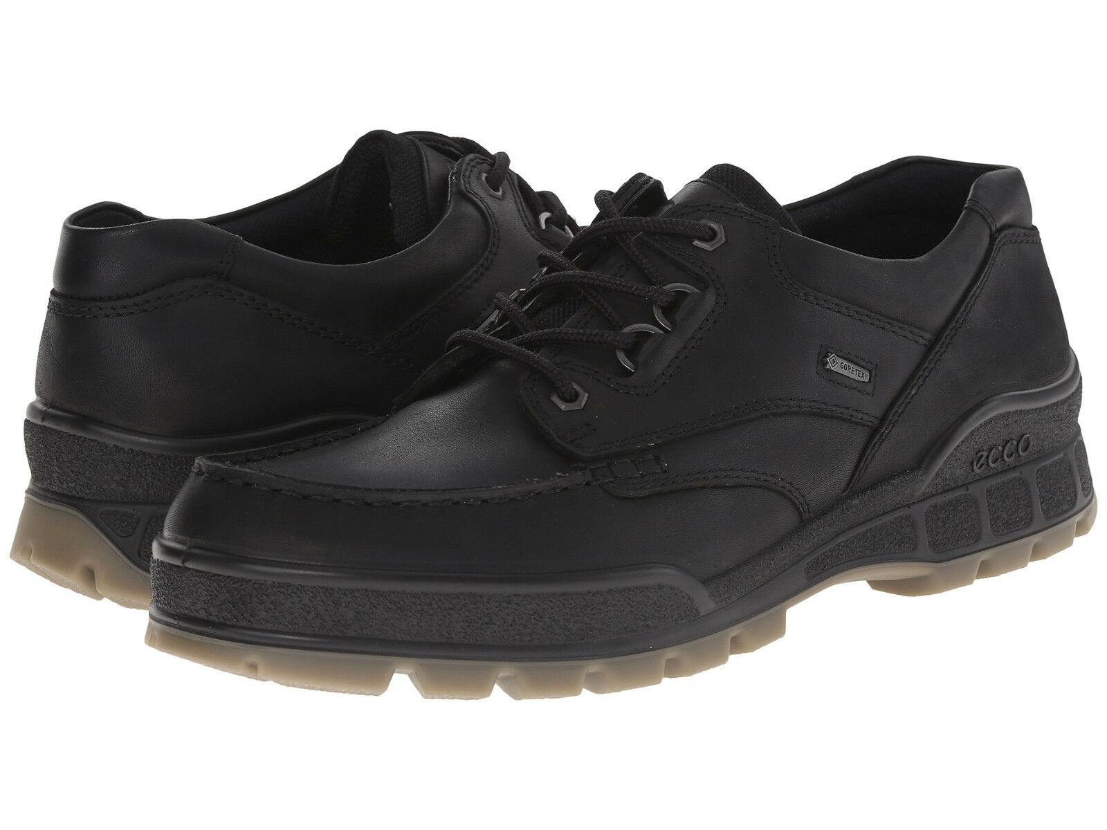 Ecco TRACK II LOW Lace Up Black Leather Waterproof Gore Tex Comfort Oxford shoes