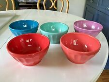 """Set of Five Colorful Biscuit """"Latte Bowls"""" from Anthropologie"""