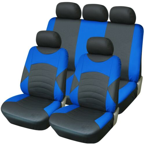 Premium Black /& Blue Touring Synthetic Leather Look Car 4x4 MPV Seat Covers Set