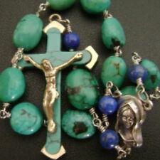 Turquoise prayer bead Cross & Lapis lazuli beads one decade rosary bracelet gift