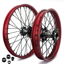 "21"" x 19"" MX Wheel Set Red Rims Black Hubs for Honda CR125 CR250 CRF 250 450 R X"