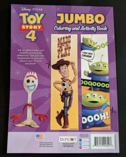 Disney Pixar Toy Story 4 Bonus Cut-Out Bookmarks 96 pages