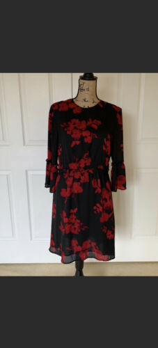 H&M Women Black And Red Floral  Dress