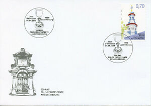 Luxembourg-2019-FDC-Eglise-protestante-200-ans-1-V-couverture-eglises-religion-timbres