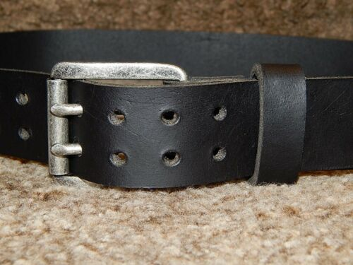 pin massive antique buckle. Quality 9 oz buffalo leather belt with 2 prong