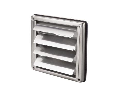 Rejilla de ventilación de acero inoxidable con compuertas automáticas 154x154mm//100mm conexión