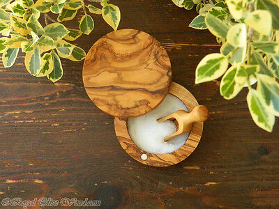 LOT OF 2 OLIVE WOOD HANDMADE SALTSUGAR POT//BOWL WITH MAGNET LID AND FREE SCOOP