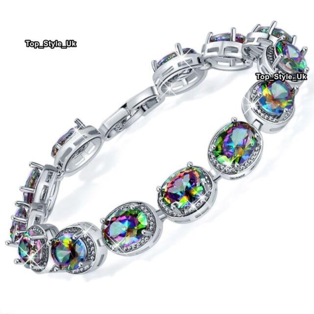 Mystic Fire Topaz Tennis Bracelet Silver Jewellery Women Presents for Her J659