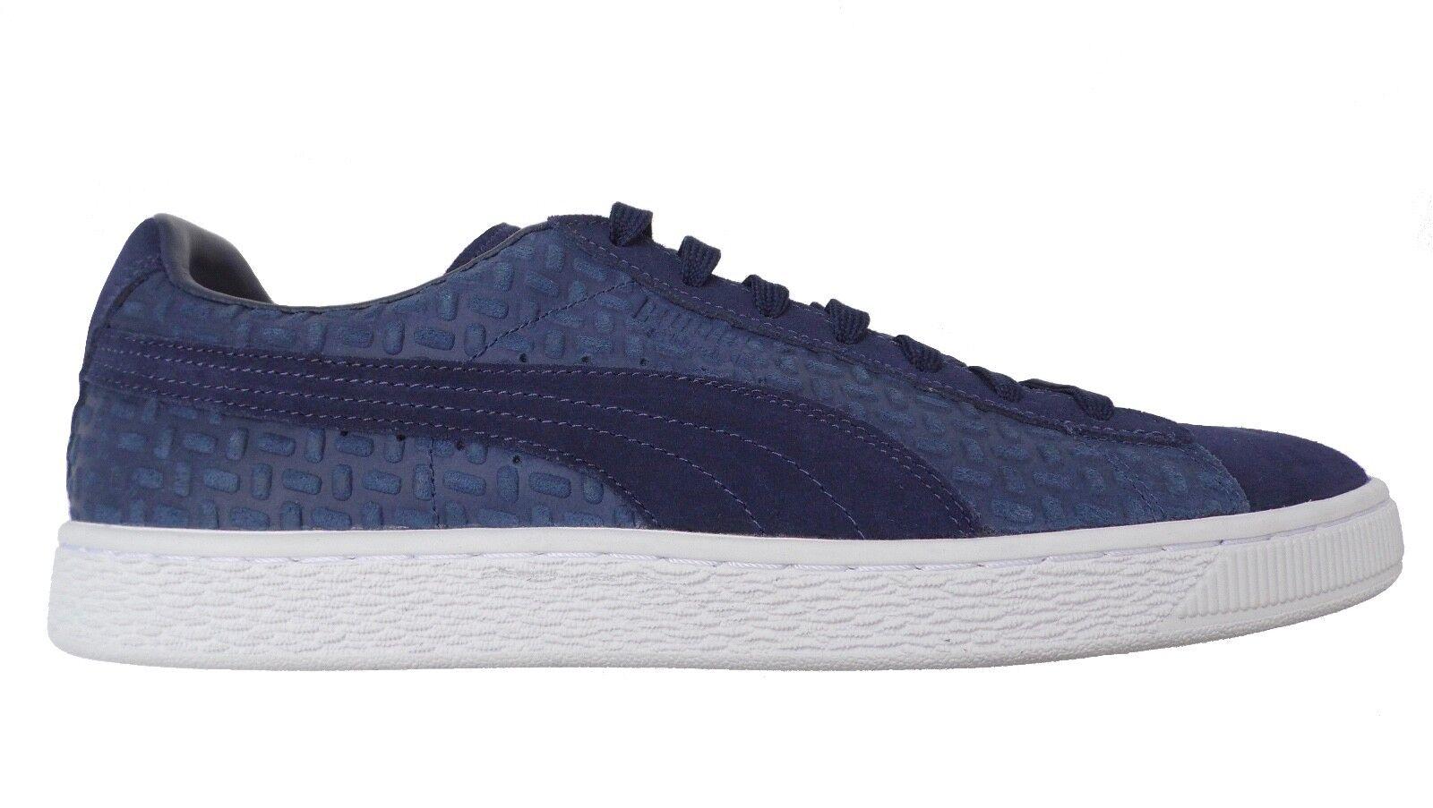 PUMA  Suede Classic Emboss V2 Herren Sneaker Schuhe blaues Relief-Leder  45  Neu