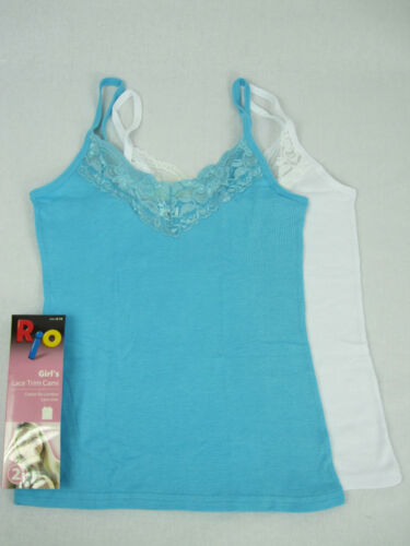 RIO Girls 2 Pack Lace Trim Cotton Cami Top sizes 8 10 Colour White Blue