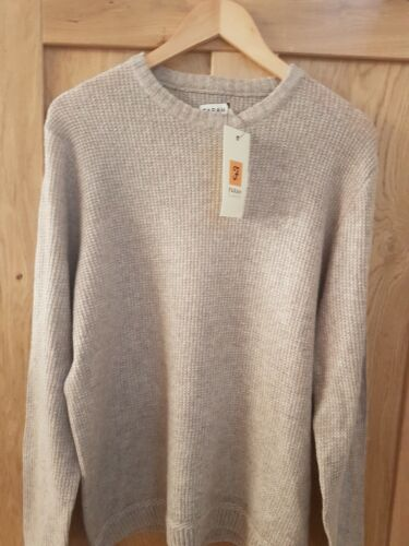 MENS CHUNKY WOOL MIX FARAH JUMPER IN BEIGE RRP £59 SIZE M ONLY £29.99