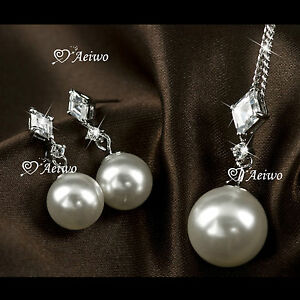 18K-WHITE-GOLD-FILLED-CLEAR-CRYSTAL-PEARL-NECKLACE-STUD-EARRINGS-FASHION-SET