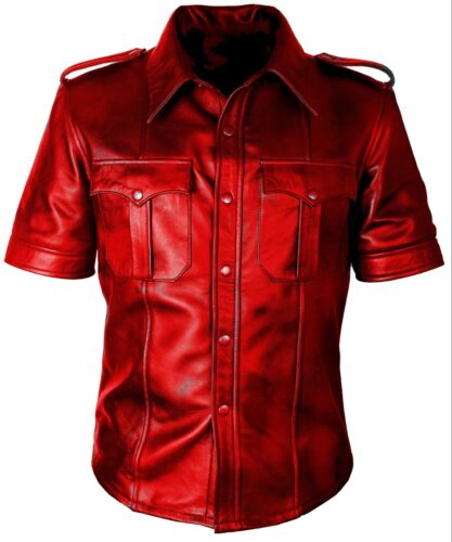 MENS BLUFF GAY POLICE UNIFORM MILITARY STYLE LAMBSKIN LEATHER SHIRT NEW