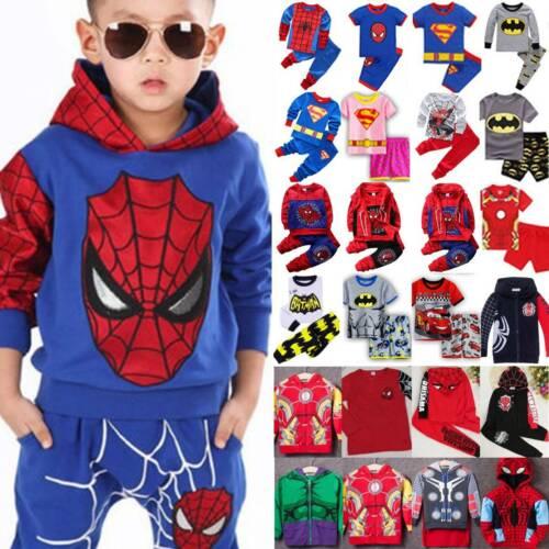 Enfants Garçons Fille MARVEL super héros Spiderman Manteau Pjs Survêtement Tenues robe fantaisie