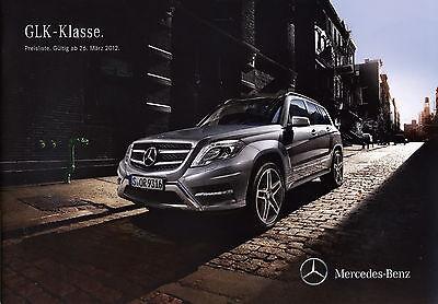 Das Beste Mercedes Glk-klasse Preisliste 2012 26.3.12 Price List Prislista Liste Des Prix üBereinstimmung In Farbe