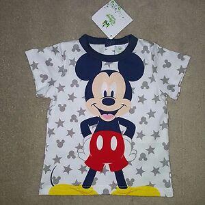 DISNEY-BABY-t-shirt-MICKEY-3-ou-9-mois-manches-courtes-etoiles-blanc-gris-NEUF