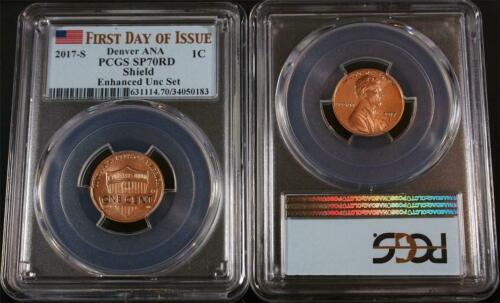 2017-S 1C Enhanced Set Shield Penny PCGS SP70RD First Day of Issue Denver ANA