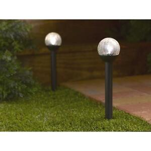 25cm Ball Globe Light Large White Solar Crackle Glass For