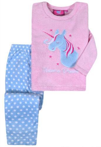 Girls Unicorn Pyjama Set Kids New Long Sleeved Fleece PJs Pink Ages 5-13 Years