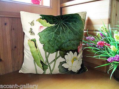 Elegant square velvet pillow cushion cover floral lotus double sides optional
