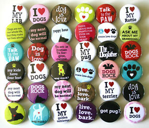 I-LOVE-DOGS-DOG-LOVERS-x-36-Buttons-Badges-Pinbacks-Bulk-Wholesale-Lot-32mm