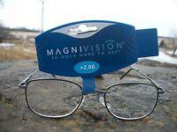 Magnivision Classic Reading Glasses W/ Tag +2.00 M033a1-200 Black