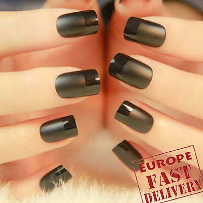 24pcs French Black Manicure Matte False GLUE Nail Full Cover - Fast From Europe
