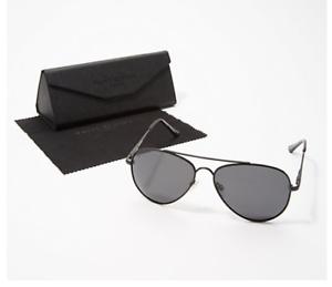 Prive Revaux The Showstopper Aviator Polarized Sunglasses Black /& Black