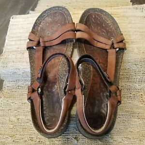 Teva-BROWN-Cork-Sole-Hiking-Leather-Strappy-Sandals-Shoes-Women-s-Sz-9