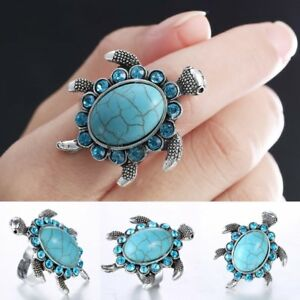 Women-039-s-Sea-Turtle-Lover-Turquoise-Adjustable-Ring-Silver-Jewellery-Fashion-Gift