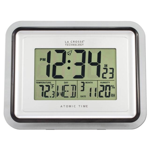 Bbb87733 La Crosse Technology Digital Atomic Wall Clock Indoor Temp Refurbished
