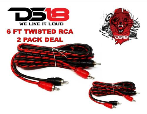 DS18 RCA6FT 6 ft 2 Channel Shielded Twisted RCA Audio Cable Amp Cables 2 Pack