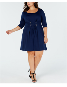 Details about Love Squared Trendy Plus Size Corset-Front Dress Navy Size 2X  #4417HK1530