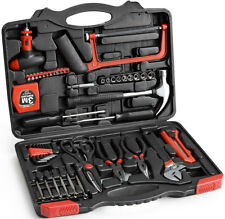 Dekton 57pc Tool Kit Set Spanner Screwdriver Pliers Drill Bit Hex Key Socket Saw