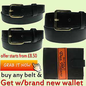 CHEAP-OFFER-MENS-BLACK-REAL-LEATHER-25MM-30MM-amp-40MM-LEATHER-BELT