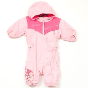 2f16483ce Columbia Snowsuit 6 Months Pink One Piece Hood Floral Fleece Lined ...