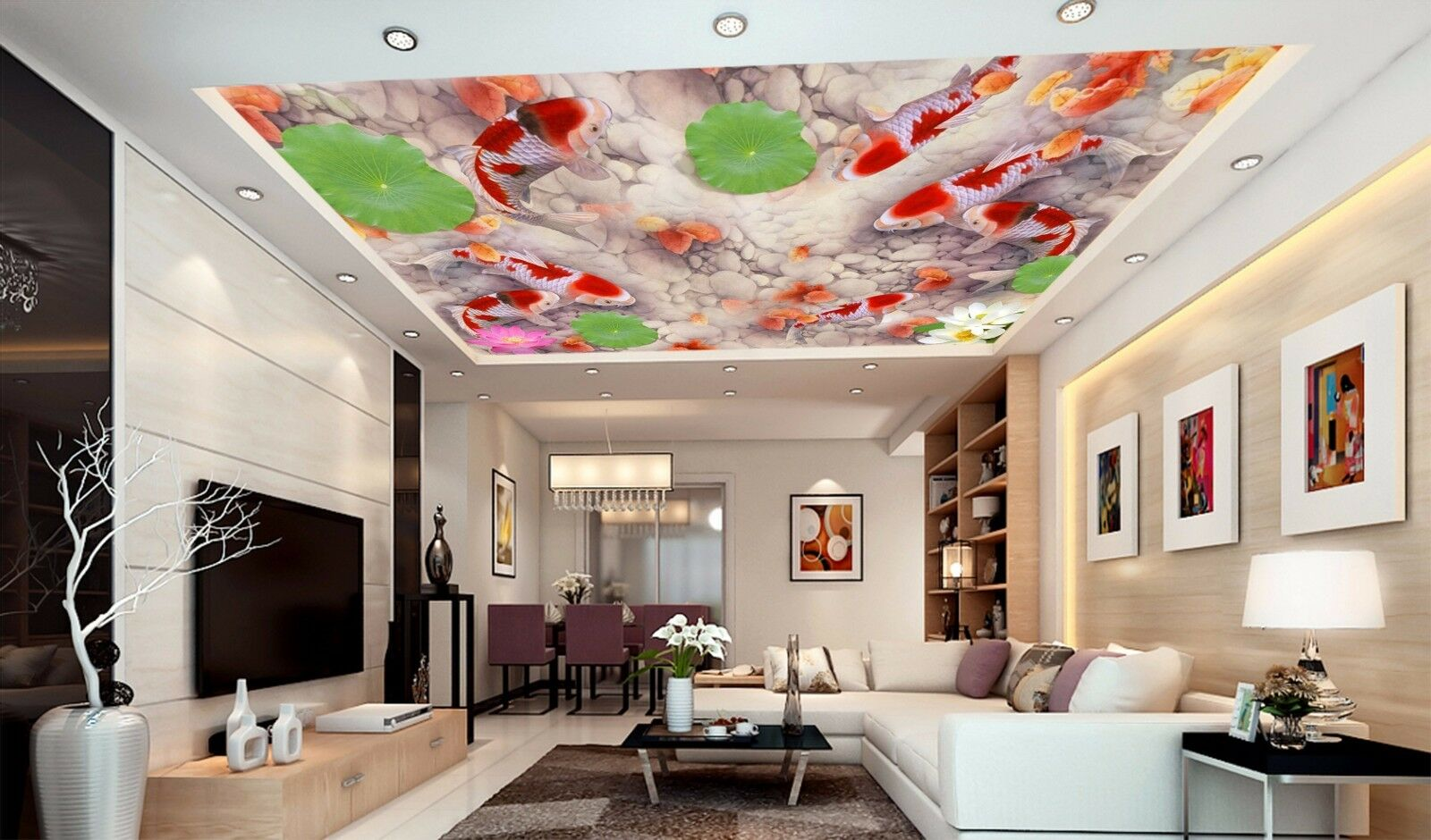 3D Carp Pool Ceiling WallPaper Murals Wall Print Decal Deco AJ WALLPAPER AU