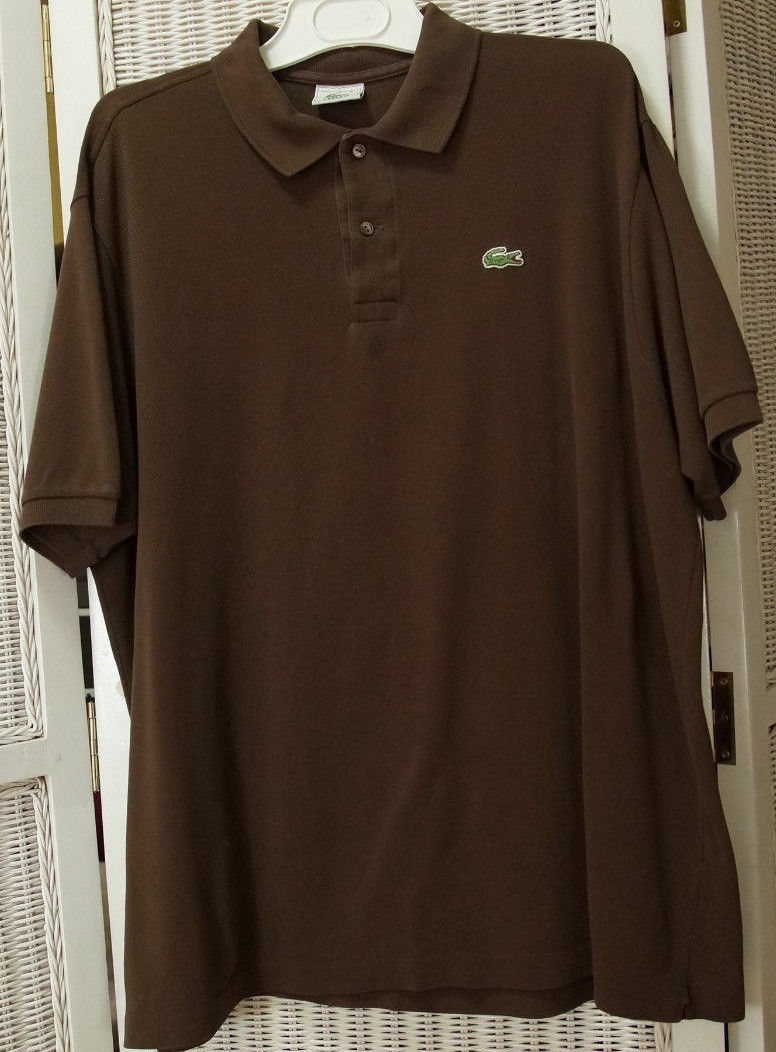LACOSTE Men's Brown Polo Shirt 7   46  Chest Devanlay Crocodile Casual Knitwear