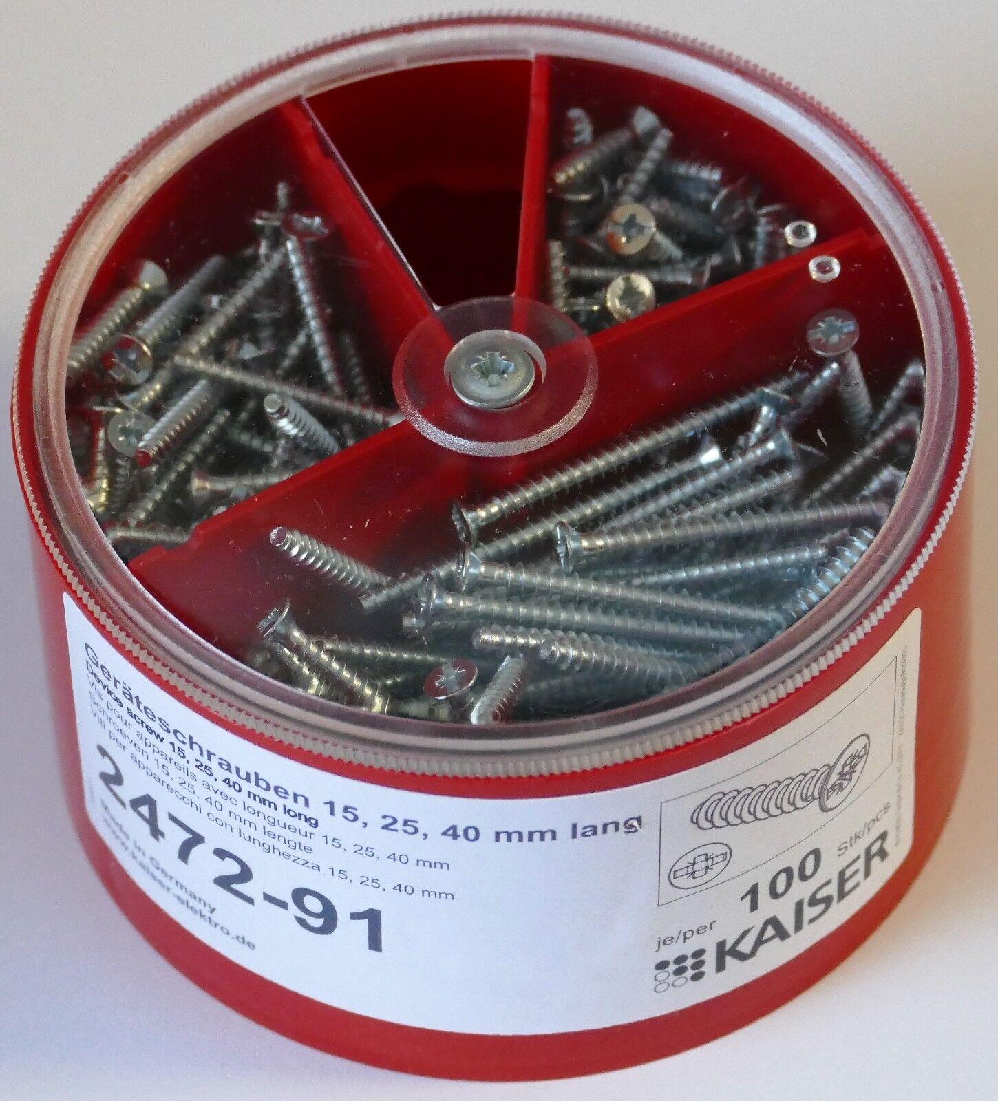 KAISER Geräteschrauben-Box je 100 3,2x15 25 40 2472-91   Charakteristisch