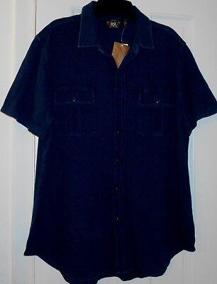 New $185 Mens DOUBLE R POLO Ralph Lauren RRL Pigment Dyed Indigo Blue Shirt~XL