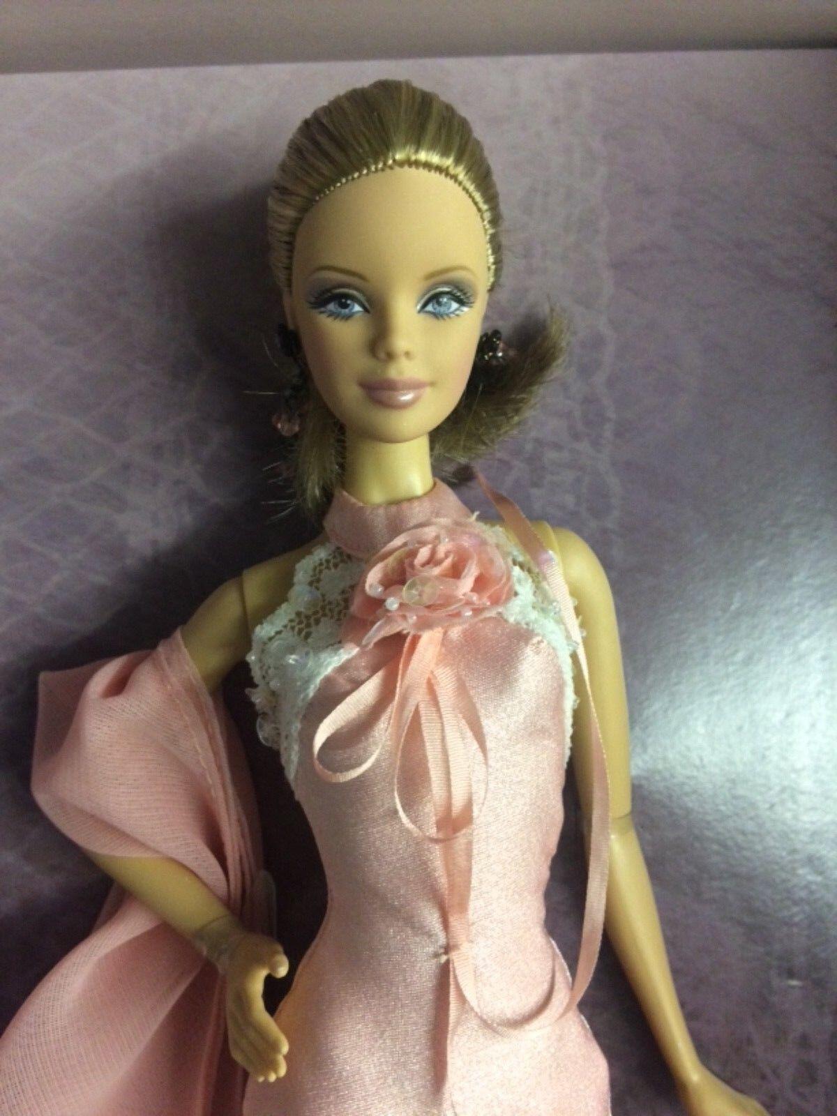 oro LABEL, Badgley Mischka rosa Abito Bambola Barbie mai tolto dalla scatola