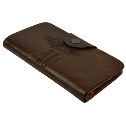 MENS LONG COWBOY WALLET BROWN COFFEE REAL LEATHER CREDIT CARD HOLDER MAN