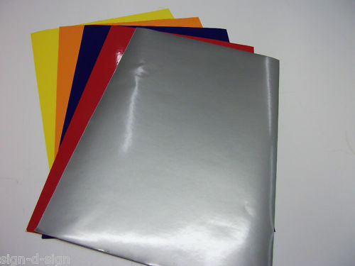 5x A4 SHEETS ASSORTED COLOURS GLOSS SELF ADHESIVE VINYL