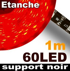 805bk 1 ruban led rouge tanche 60 led 3528 1m support noir strip led 12v ebay. Black Bedroom Furniture Sets. Home Design Ideas