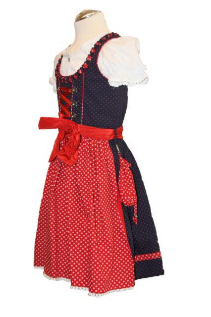 Süßes Kinderdirndl Juliana marine/rot Set 3-tlg m.Bluse rot Kinder Dirndl blau