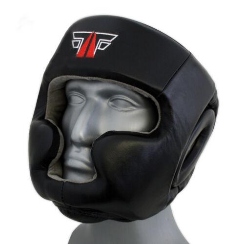FOX-FIGHT PRO Kopfschutz Full Face Echtes Leder Kikboxen boxen mma Muay Thai neu