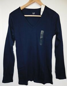 NWT-GAP-Women-039-s-Favorite-LS-V-Neck-T-Shirt-Navy-Blue-XS-S-M-L-XXL-Free-Ship-New