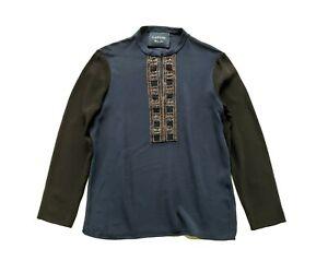 LANVIN blue and black embellished crepe top long sleeves  - blouse size 40